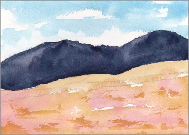 Mingus Day #39. 5 x 7 in. Watercolor on Arches 140 lb. cold pressed paper. © 2018 Sheila Delgado.