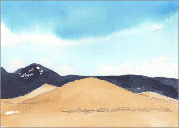 Mingus Day #40. 5 x 7 in. Watercolor on Arches 140 lb. cold pressed paper. © 2018 Sheila Delgado.