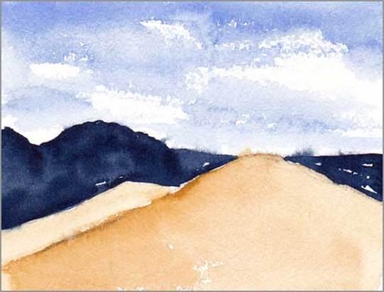 Mingus Day #45. 4 x 5.25 in. watercolor on Arches 140 lb. cold pressed paper. © 2018 Sheila Delgado.
