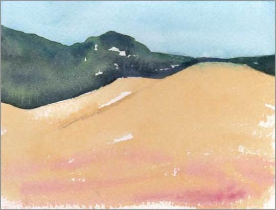 Mingus Day #46. 4 x 5.25 in. watercolor on Arches 140 lb. cold pressed paper. © 2018 Sheila Delgado.