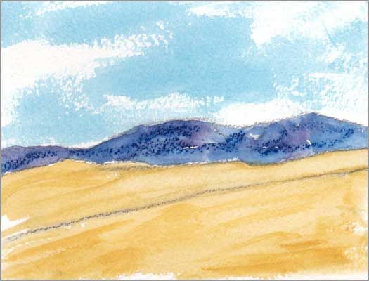 Mingus Day #54. 4 x 5.25 in. watercolor on Arches 140 lb. cold pressed paper. © 2018 Sheila Delgado.