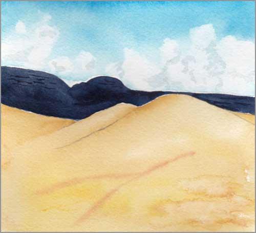 Mingus Day #61. 5 x 5.25 in. watercolor on Arches 140 lb. cold pressed paper. © 2018 Sheila Delgado.