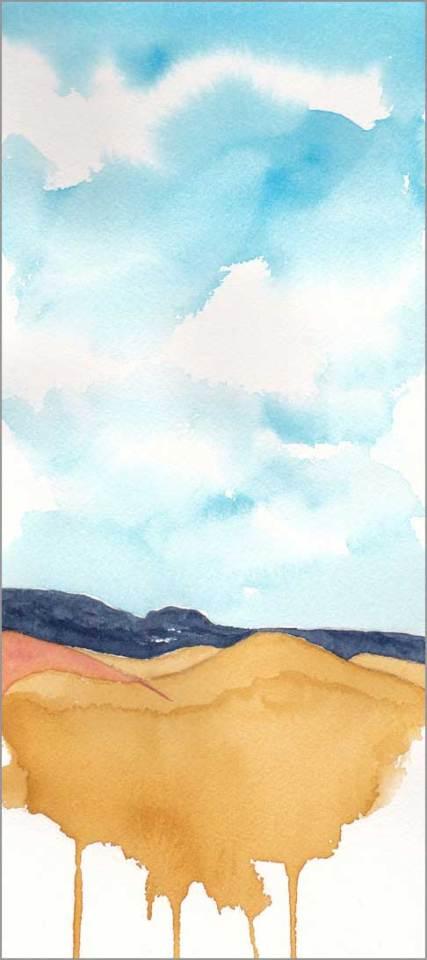 Mingus Day #65. 5 x 11.5 in. watercolor on Arches 140 lb. cold pressed paper. © 2018 Sheila Delgado.