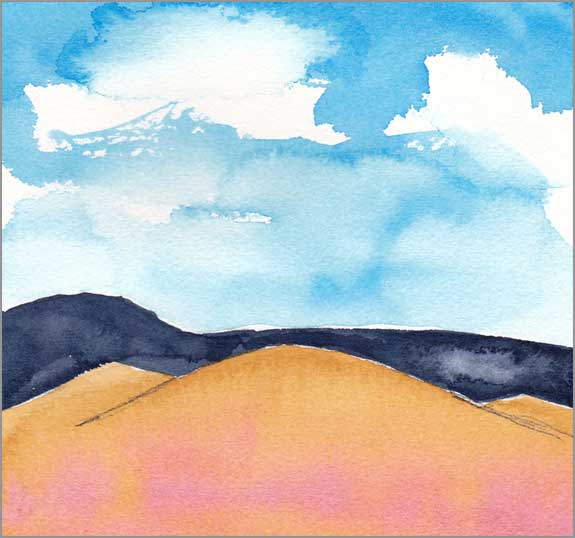 Mingus Day #67. 5.75 x 5.75 in. watercolor on Arches 140 lb. cold pressed paper. © 2018 Sheila Delgado.