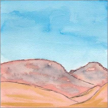Mingus Day #73. 5.5 x 5.5 in. watercolor on Arches 140 lb. cold pressed paper. © 2018 Sheila Delgado.