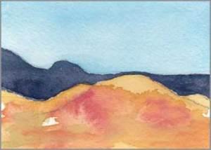 Mingus Day #84. 3.5 x 2.5 in. watercolor on Arches 140 lb. cold pressed paper. © 2018 Sheila Delgado.