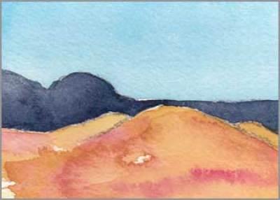Mingus Day #85. 3.5 x 2.5 in. watercolor on Arches 140 lb. cold pressed paper. © 2018 Sheila Delgado.