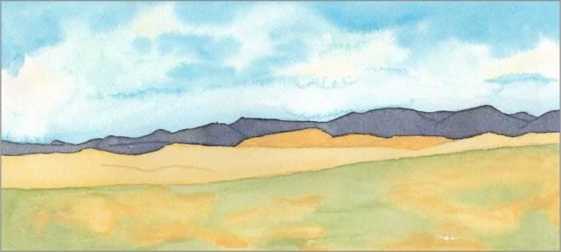 Mingus #87. 12 x 5.5 in. watercolor on Arches 140 lb. cold pressed paper. © 2018 Sheila Delgado.