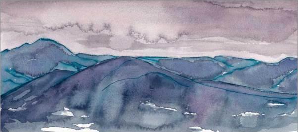 Mingus #98. 11.5 x 5.5 in. watercolor on Arches 140 lb. cold pressed paper. © 2018 Sheila Delgado.