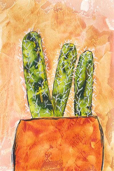 Put him in a pot. 4 x 6 in. watercolor & gesso on paper. © 2019 Sheila Delgado.