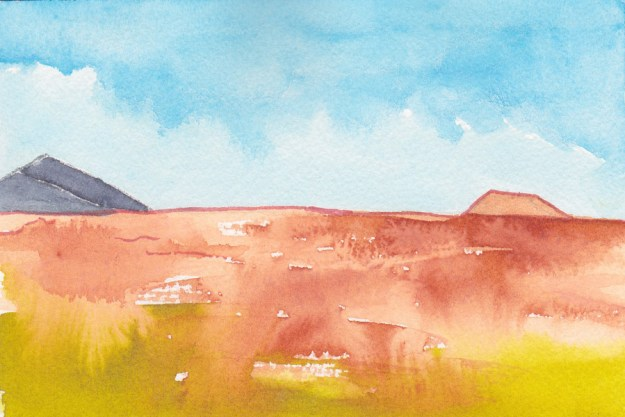 Thankful Desert Postcard. 6 x 4, watercolor, pen on Arches 140 lb. cold-pressed paper. © 2019 Sheila Delgado.