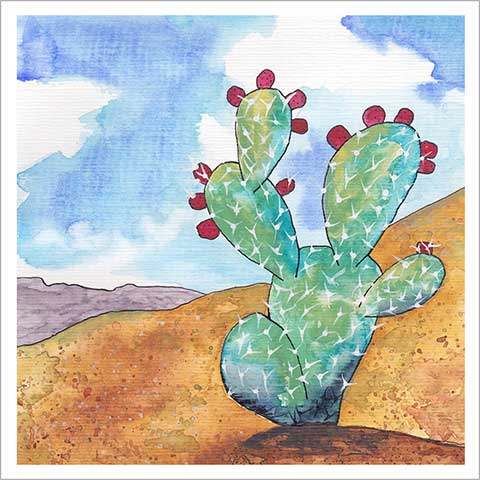 Day 20, FEB C.G., 8 x 8, watercolor on paper. © 2020 Sheila Delgado.