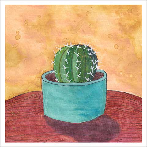 Day 9, FEB C.G., 8 x 8, watercolor on paper. © 2020 Sheila Delgado.