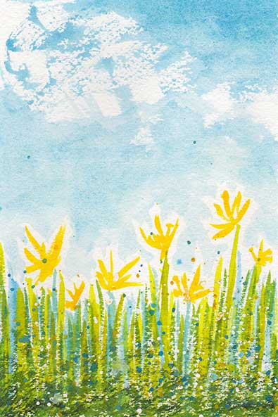 Flower Field, 4 x 6 watercolor on Arches 140 lb. cold-pressed paper. © 2020 Sheila Delgado.