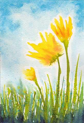 Three Little Blooms, 4 x 6 watercolor on Arches 140 lb. cold-pressed paper. © 2020 Sheila Delgado.