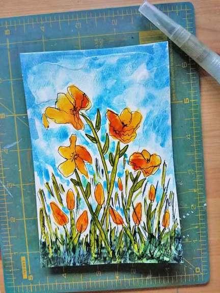 Sunny Blooms, watercolor on gessoed paper. © 2020 Sheila Delgado.