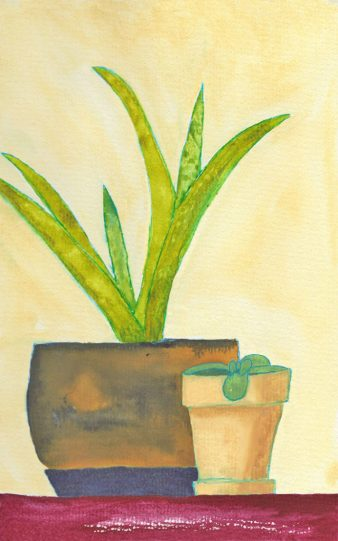 Two Pots, 5 x 7,  watercolor on paper. © 2021 Sheila Delgado.
