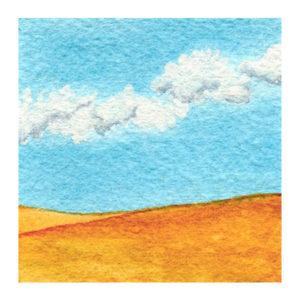 Day 2, WWM, 2 x 2 inch watercolor on Arches 140 lb. cold pressed paper. © 2021 Sheila Delgado.
