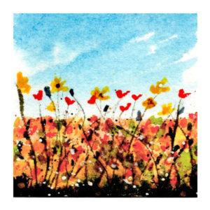 Day 1, WWM, 2 x 2 inch watercolor on Arches 140 lb. cold pressed paper. © 2021 Sheila Delgado.