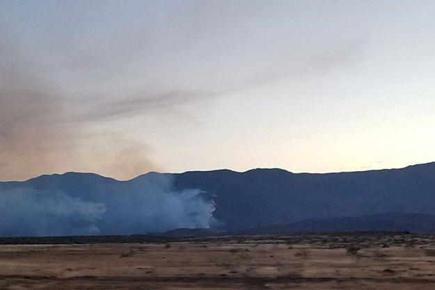 Fire over Bradshaw, dusk. Close up. 7-1-21, SMDelgado.
