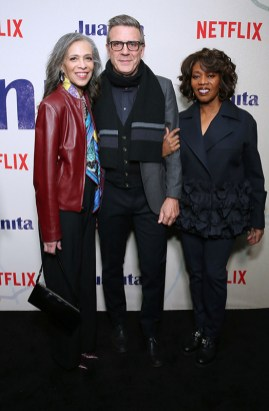"NEW YORK, NEW YORK - MARCH 07: Author Sheila Williams, writer Roderick Spencer and actress Alfre Woodard attend ""Juanita"" Special Screening on March 07, 2019 in New York City. (Photo by Monica Schipper/Getty Images for Netflix)"