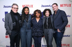 "NEW YORK, NEW YORK - MARCH 07: (L-R) Writer Roderick Spencer, producer Mel Jones, actress Alfre Woodard, producers Stephanie Allain and Jason Michael Berman attend ""Juanita"" Special Screening on March 07, 2019 in New York City. (Photo by Monica Schipper/Getty Images for Netflix)"
