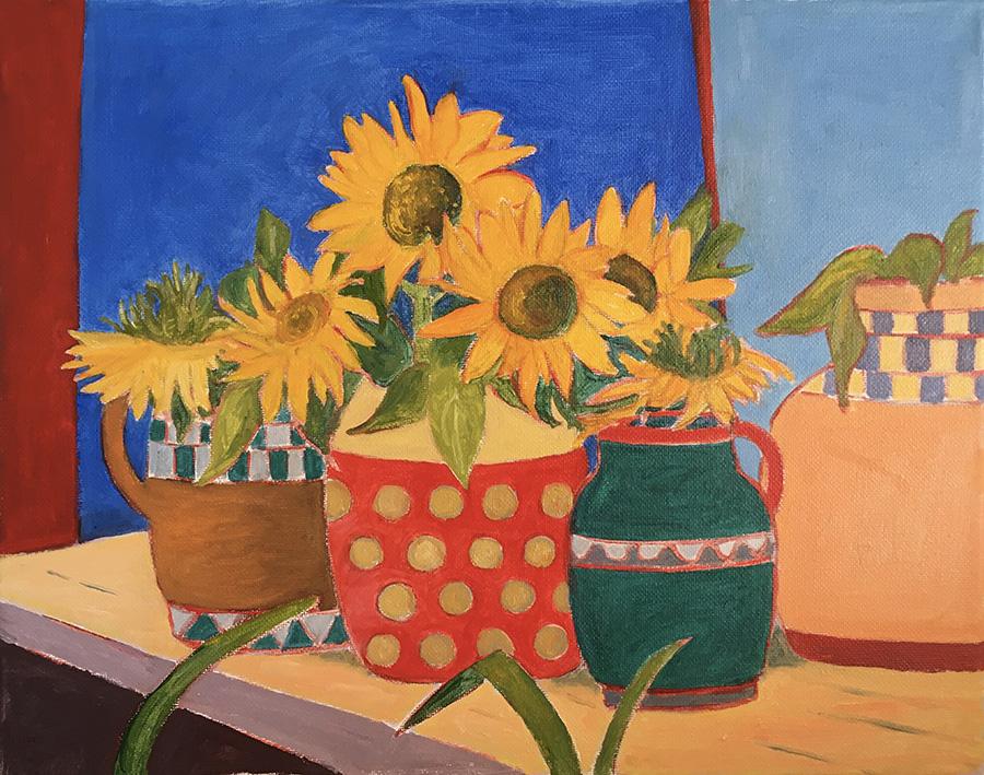 Sunflowers in 4 Pots
