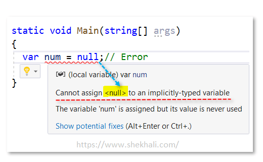 var variable with null value in c#