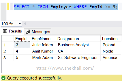Greater than or equal (>=) operators in SQL server