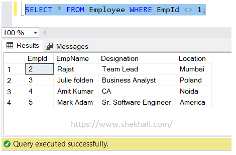 not equal (<>) operator in SQL server