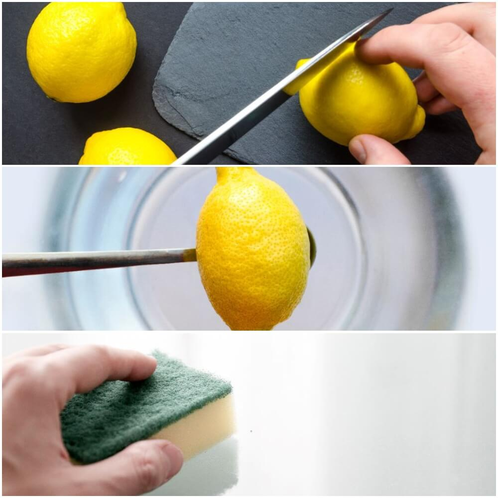 clean microwave using water and lemon
