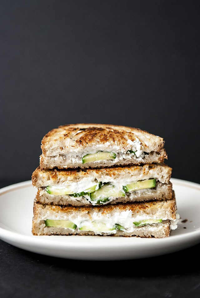 Healthy sandwich alternatives cucumber goat cheese grilled cheese.