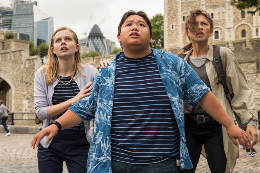 Editorial use only. No book cover usage.Mandatory Credit: Photo by J Maidment/Columbia/Marvel/Kobal/Shutterstock (10328602u) Angourie Rice as Betty Brant, Jacob Batalon as Ned Leeds and Zendaya as MJ 'Spider-Man: Far from Home' Film - 2019 Following the events of Avengers: Endgame (2019), Spider-Man must step up to take on new threats in a world that has changed forever.