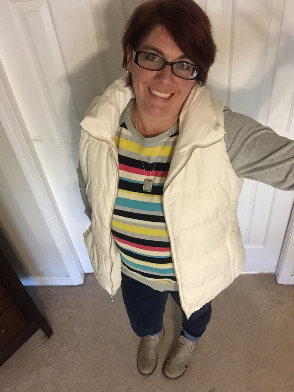 Bright Stripes and  a Puffer Vest
