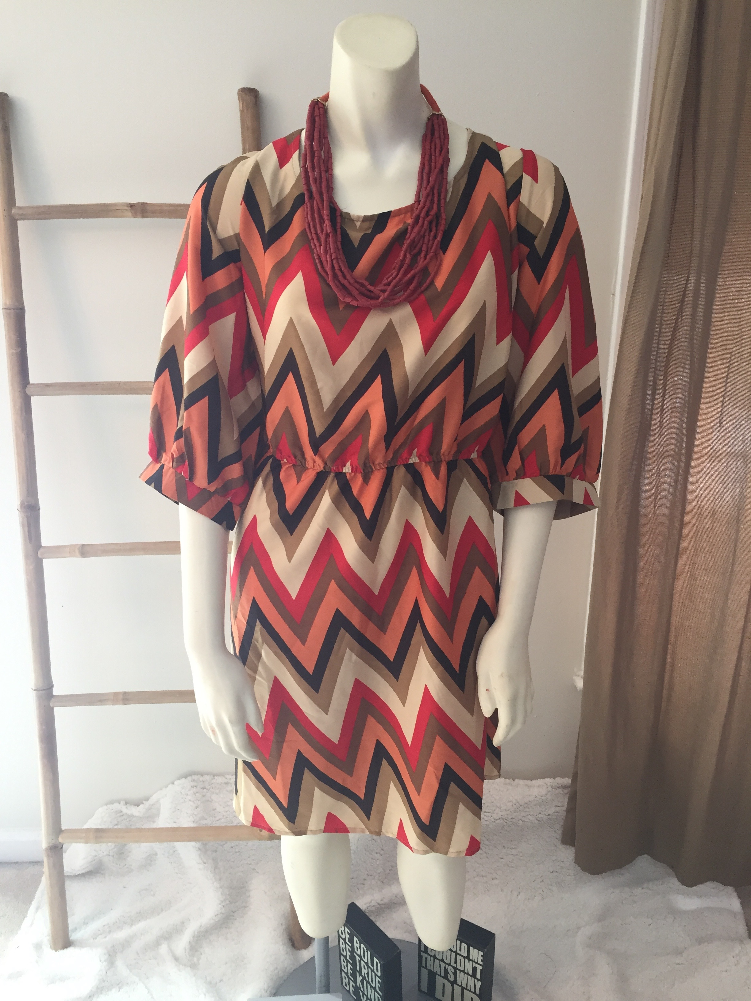 Retro ZigZag Print Dress