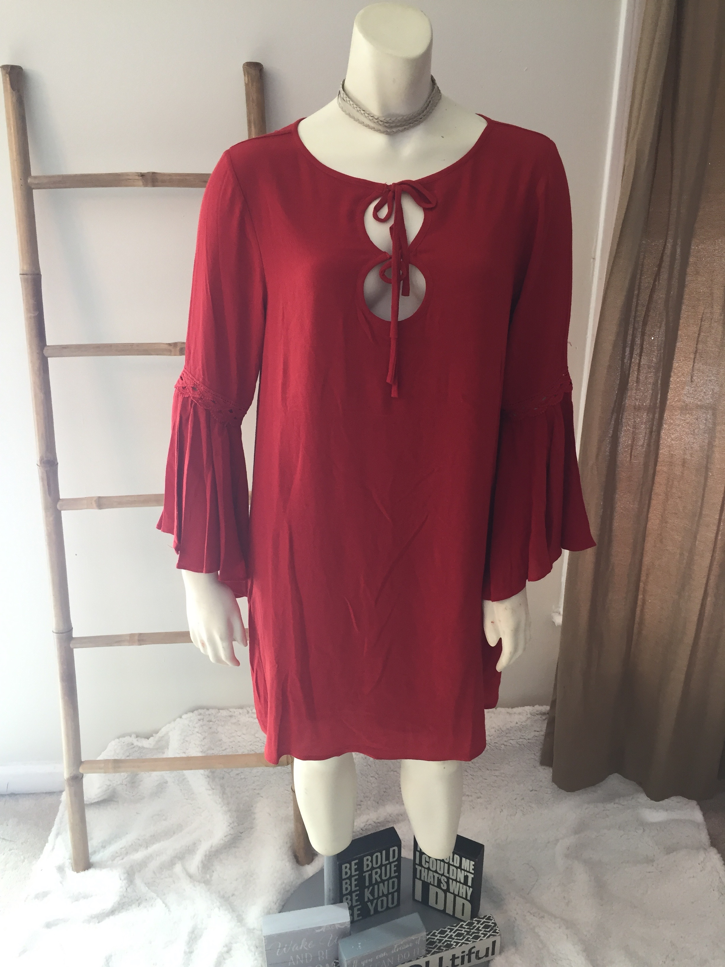 Cinnamon Bell Sleeve Dress