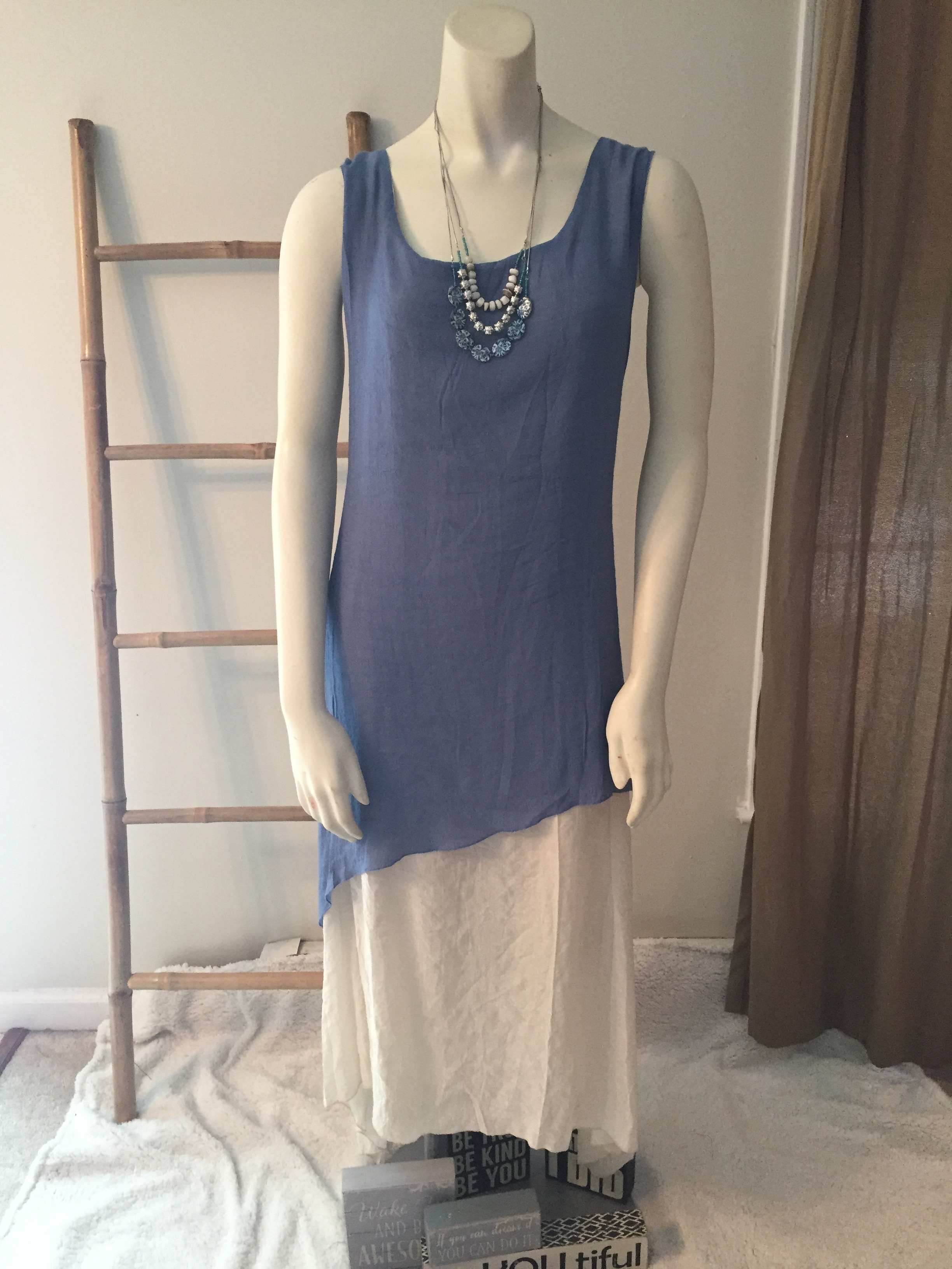 Blue and Ivory Layered Tunic Sundress