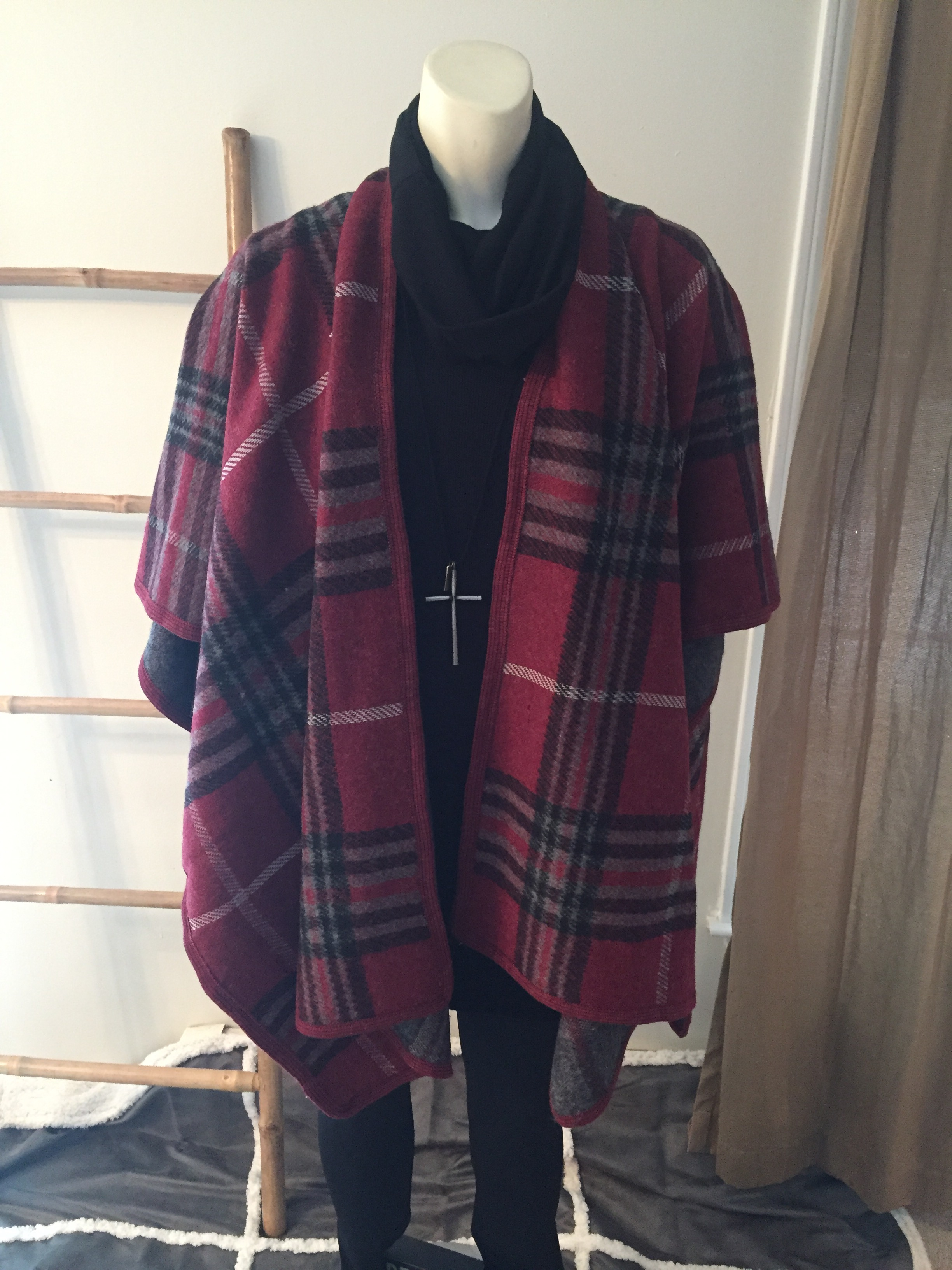 Burgundy Plaid Ruana