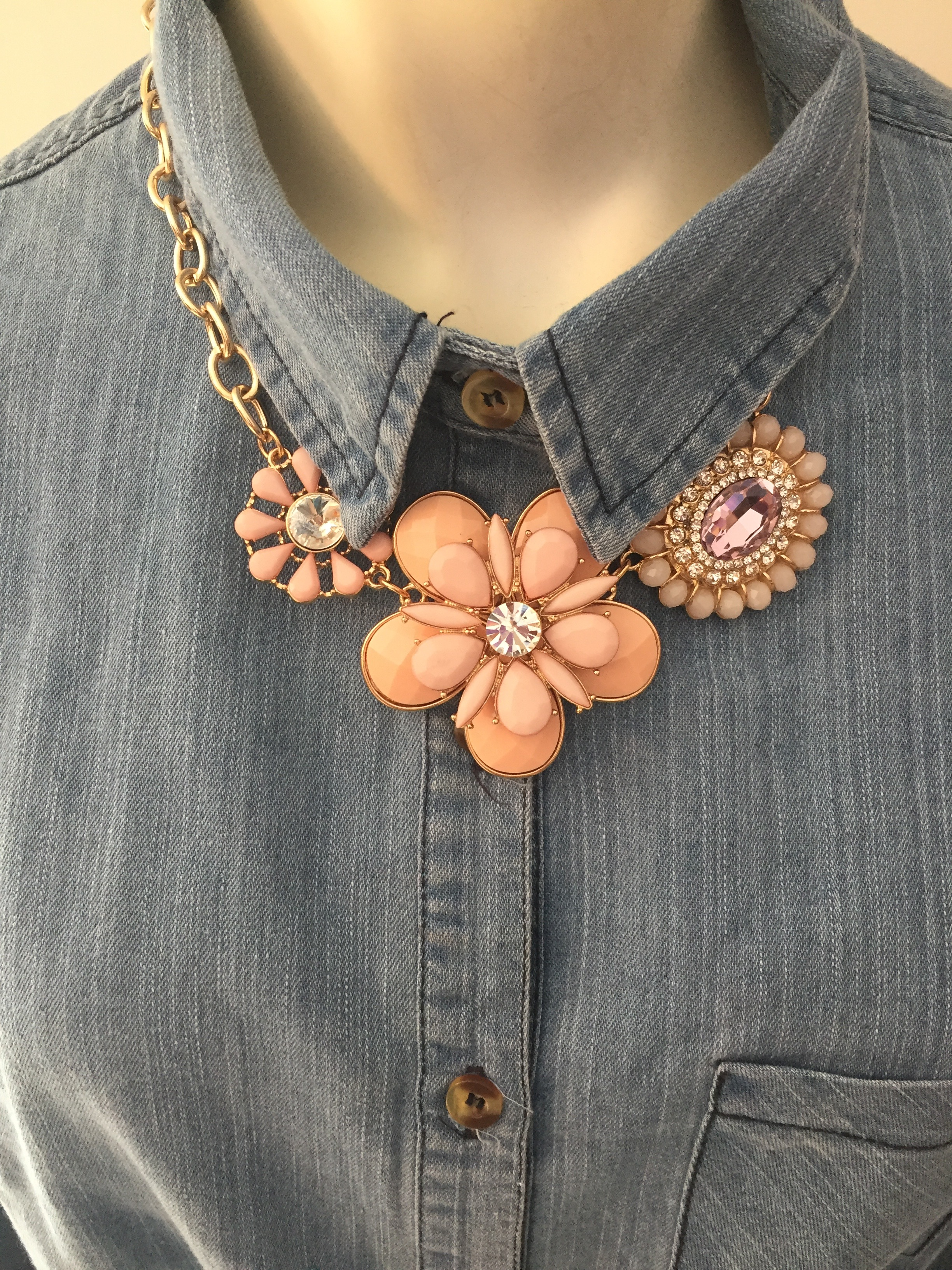 Pale Pink Floral Statement Necklace