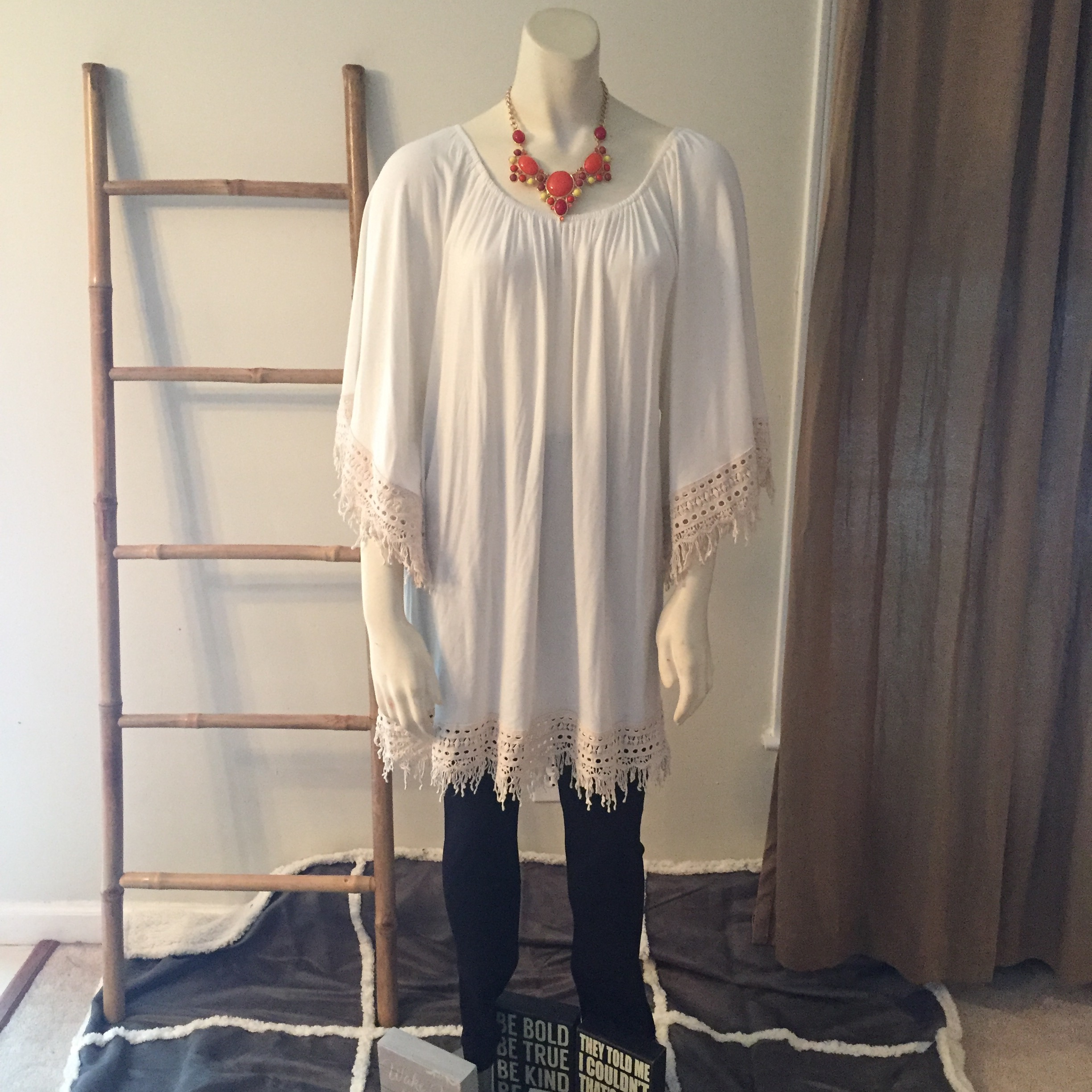 Ivory Tunic with Crochet Lace Trim