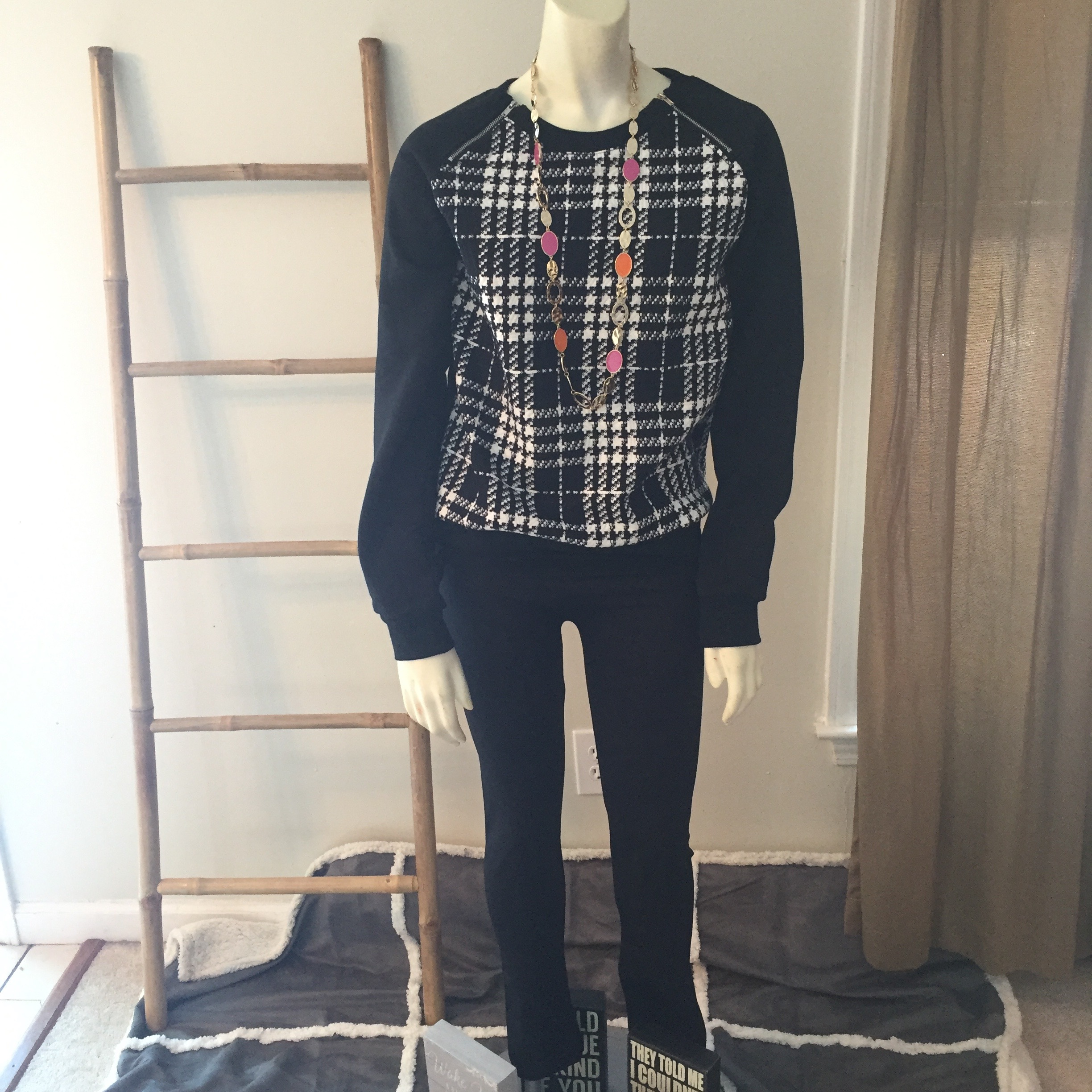 Plaid Front Sweatshirt