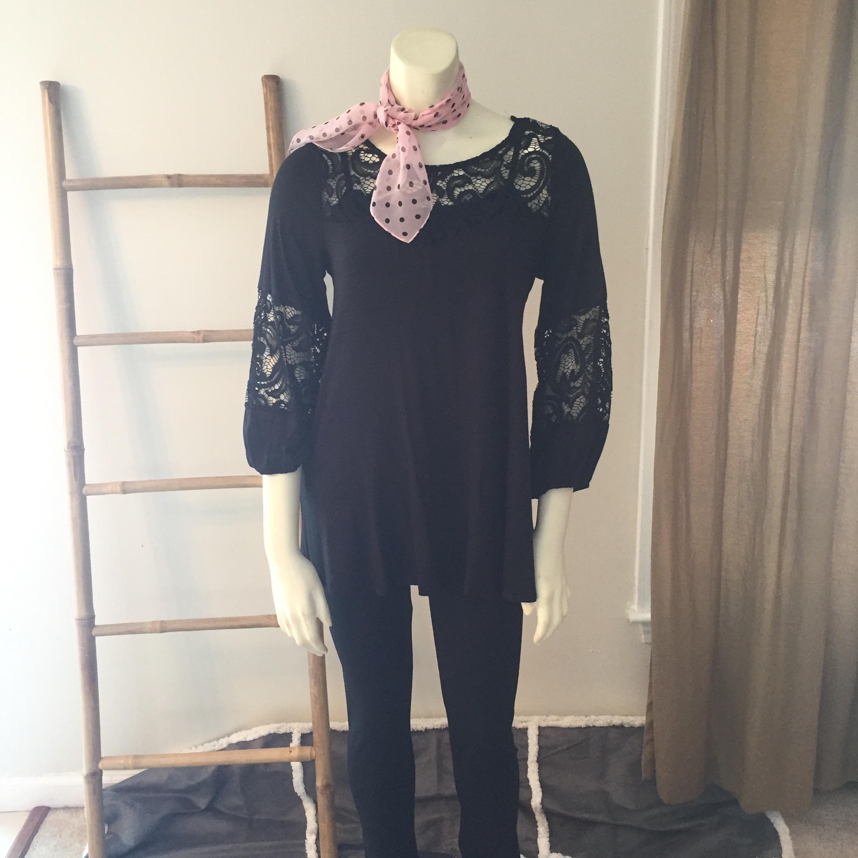 Black Lace Insert Tunic