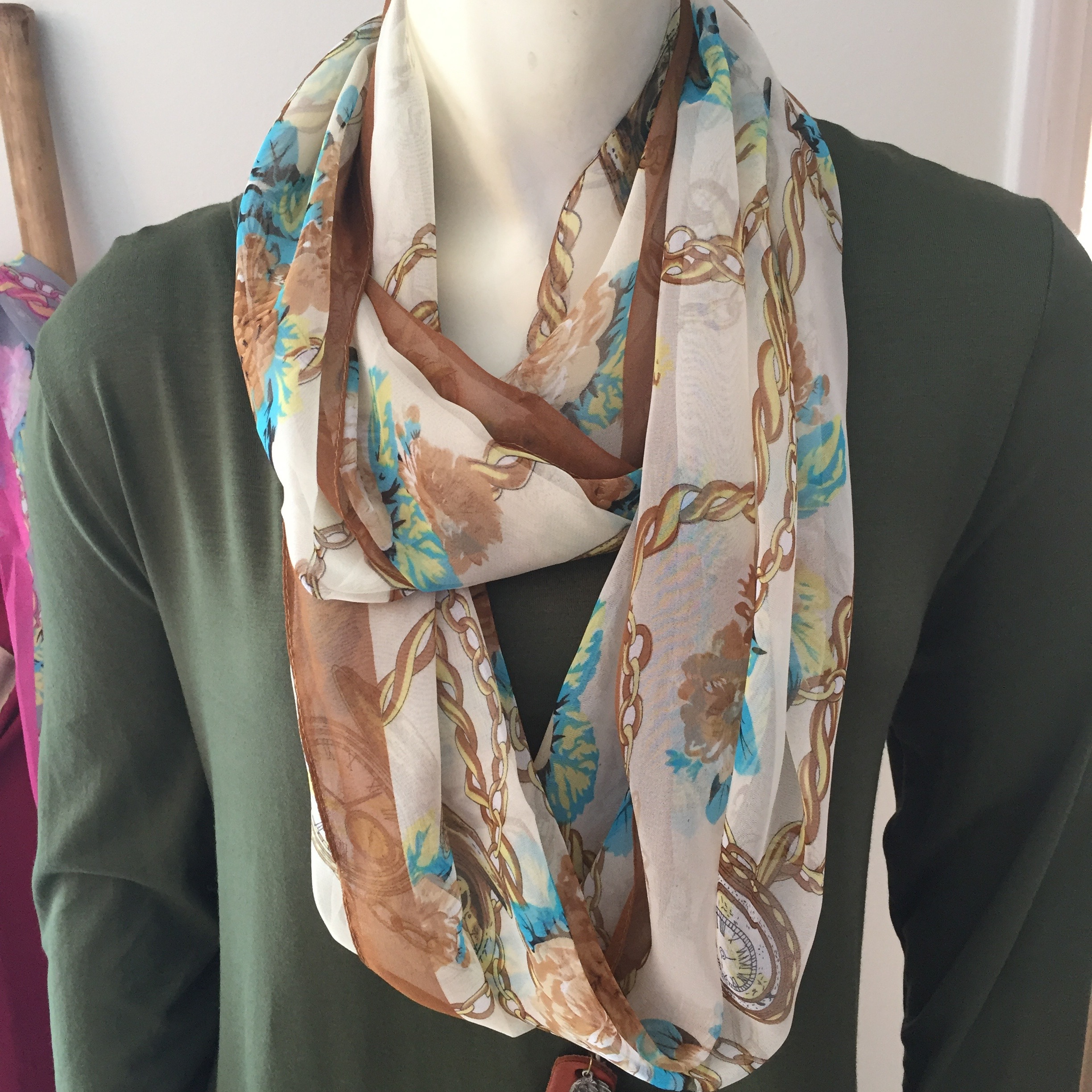 Watch and Chain Print Infinity Scarf