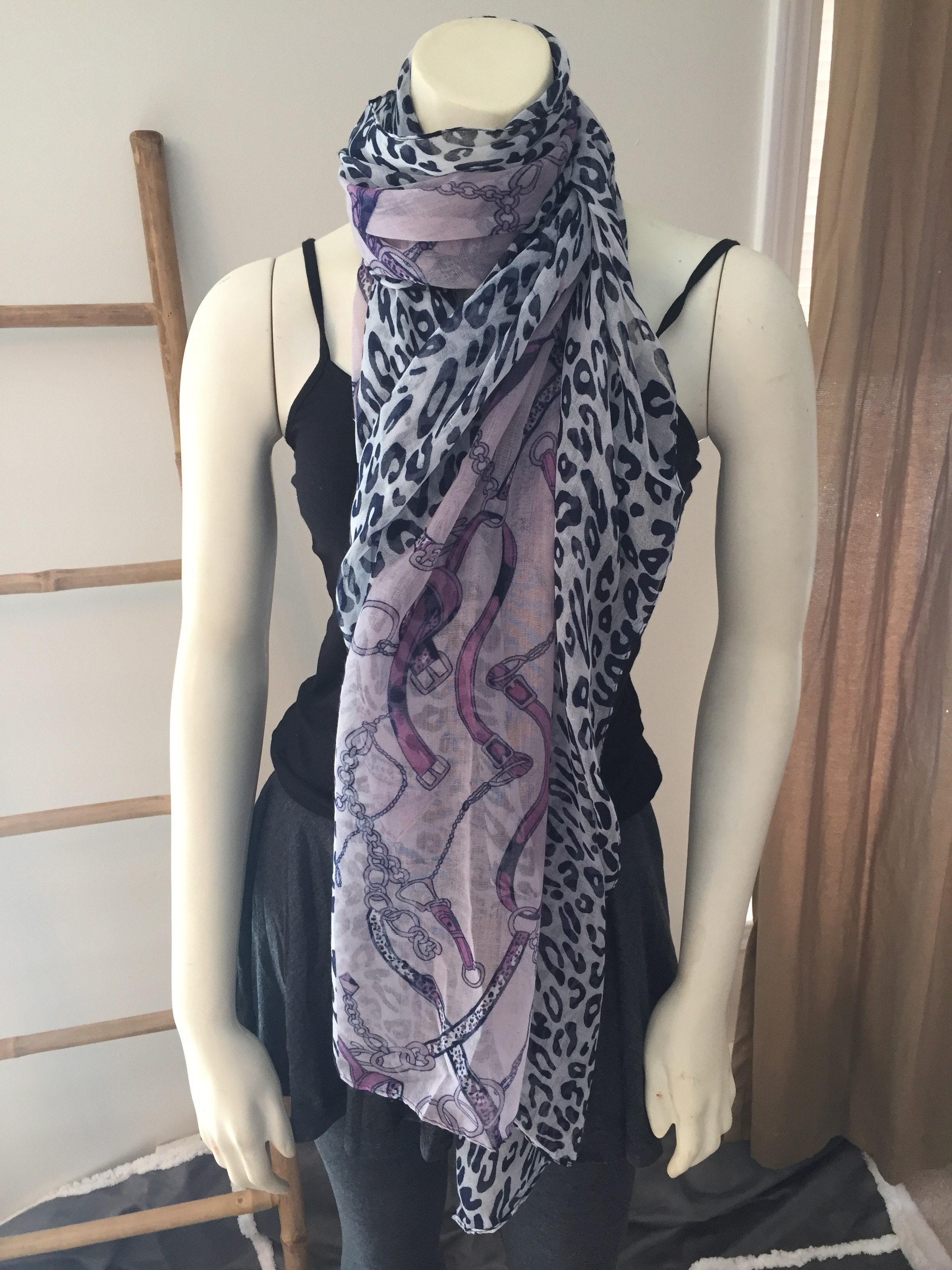 Purple Leopard and Belt Print Scarf