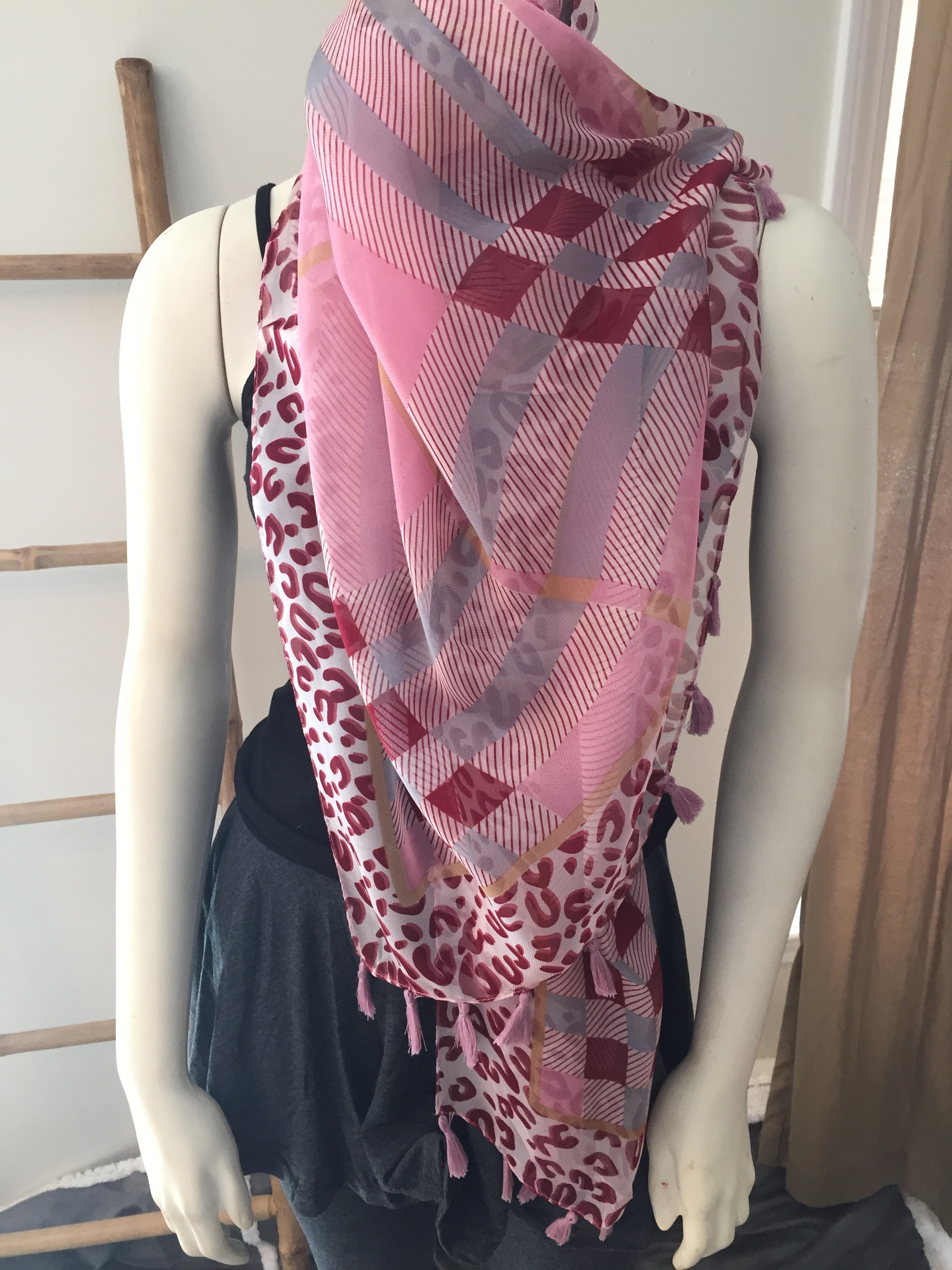 Pink Plaid and Leopard Print Tassel Scarf