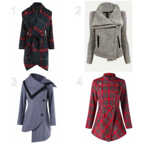 5cf50e774e Casaul Zippered Turn-Down Collar Mesh Knitted Coat For Women. 3. High Low  Oblique Button Tunic Wool Coat. 4. Christmas Plaid Double Breasted Coat.