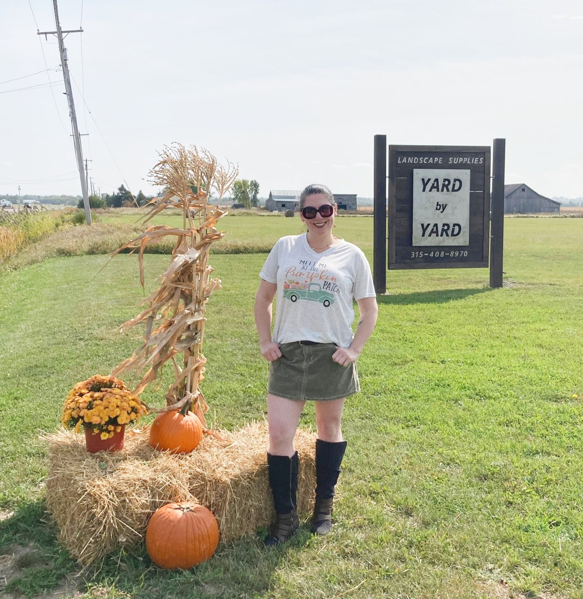 fall tee, mini skirt, knee high boots, denim jacket, pumpkin patch, fashion over 40, Shelbee on the Edge
