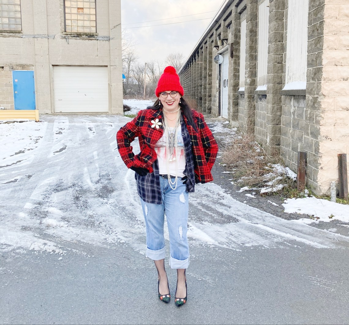 red plaid blazer, tartan blazer, cropped denim, holiday outfit, thrifted style, fashion over 40, pattern mixing, graphic tee, Shelbee on the Edge