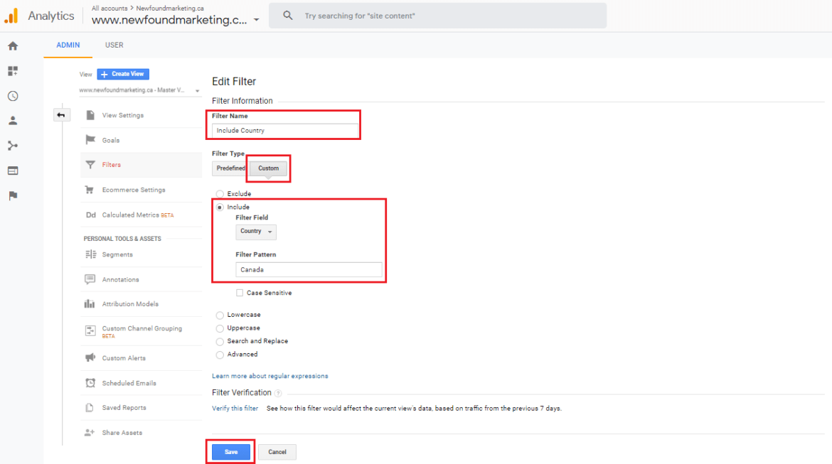 Include Country Filter For Google Analytics