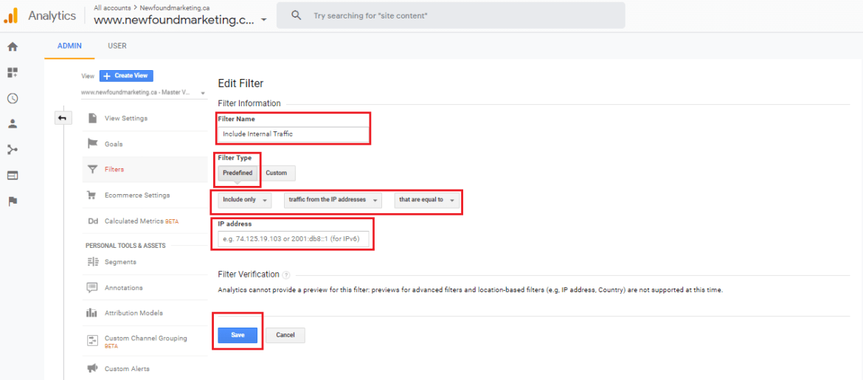 Include Internal Traffic Filter In Google Analytics